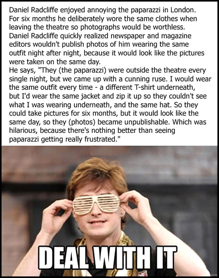 paparazzi, daniel radcliff, media, troll, deal with it, meme, story