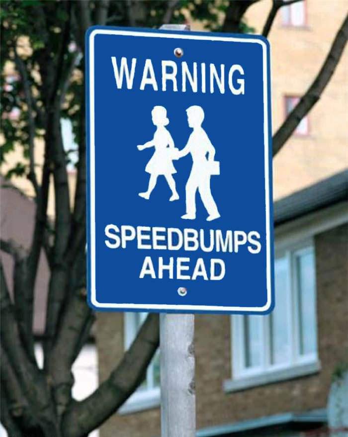 warning, speed bumps ahead, road sign, school children