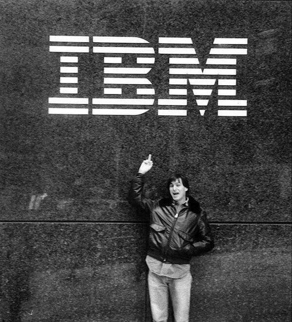 ibm, steve jobs, middle finger
