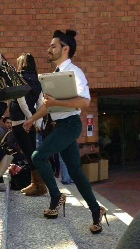 man in high heels, wtf, tight pants