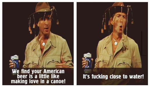 american beer, making love in a canoe, fucking close the water
