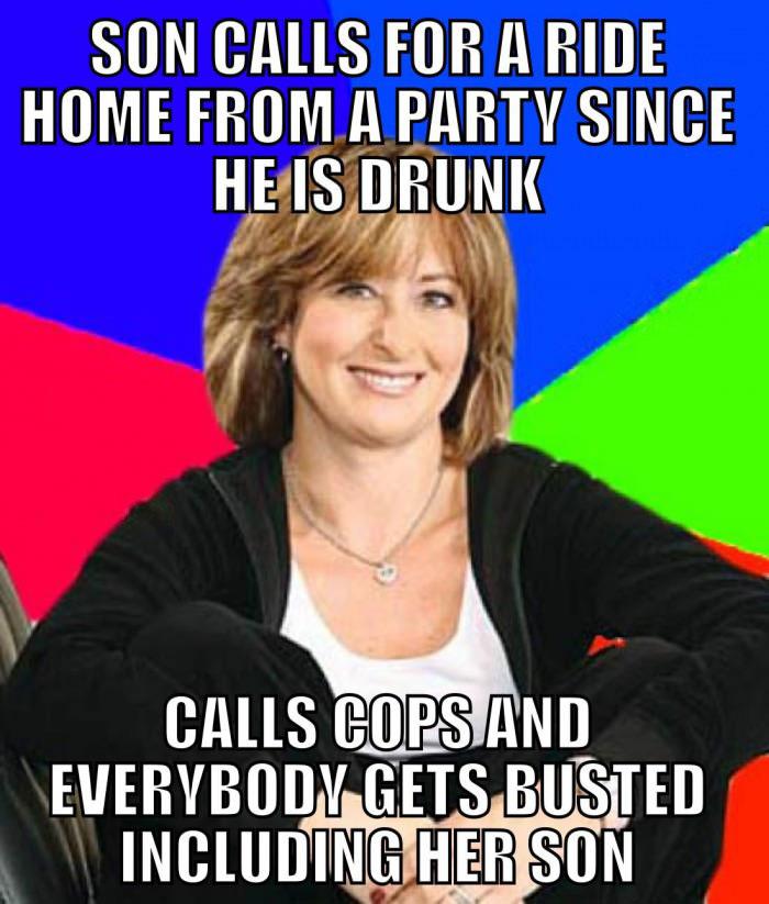 parenting fail, mom, meme, stupid, calls cops, drunk, party