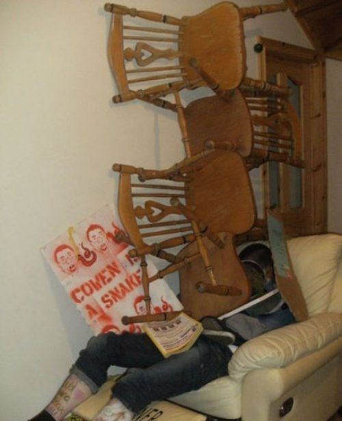 passed out at a party, troll, chairs