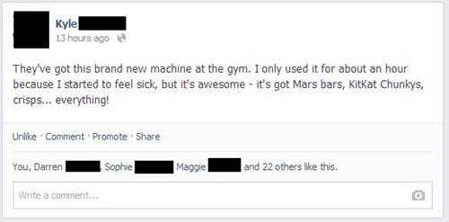 gym, machine, facebook, vending machine, lol