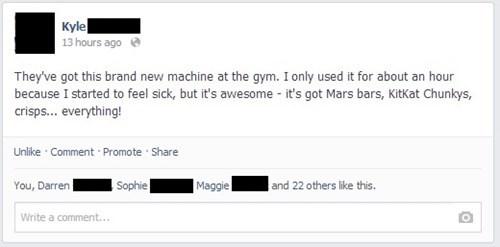 gym, machine, facebook, vending machine, lol