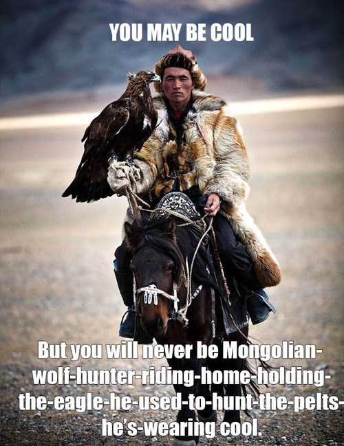 cool, wolf hunter, eagle, horse, pelts, meme