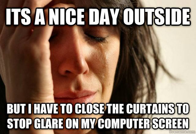 first world problems, nice day outside, close curtains to reduce screen glare, meme