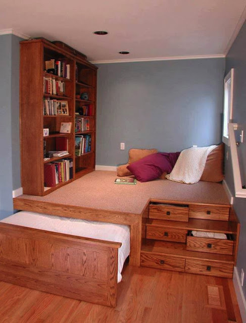 bed, bookshelf, interior design, reading space, stairs, drawers, win