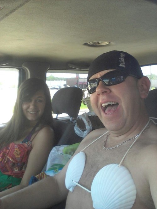 bad parenting, first day of college, seashell bra, wtf, father