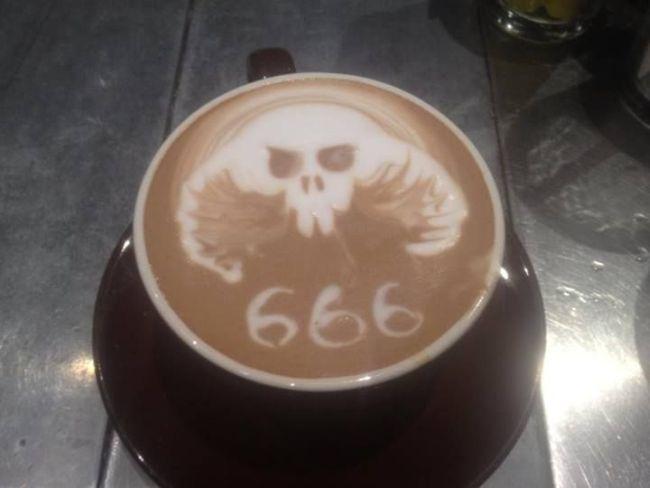 666, dark coffee, latte