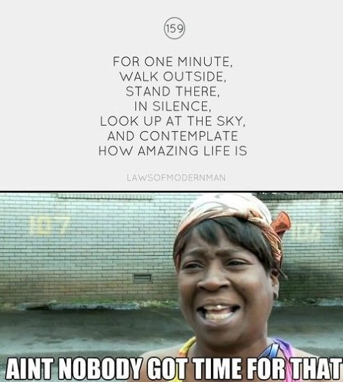 contemplate how amazing life is, ain't nobody got time for that, meme