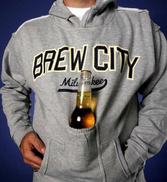 sweatshirt, beer holder, win, brew city