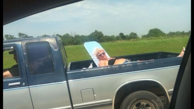 pick up truck, sun tanning, lawn chair, lol