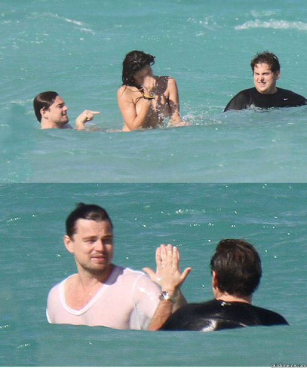 leonardo dicaprio, jonah hill, topless woman, high five