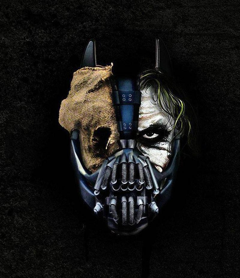 batman trilogy, villains, bane, joker