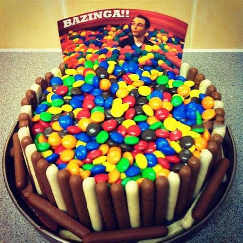 cake, smarties, ball pit, bazinga, the big bang theory