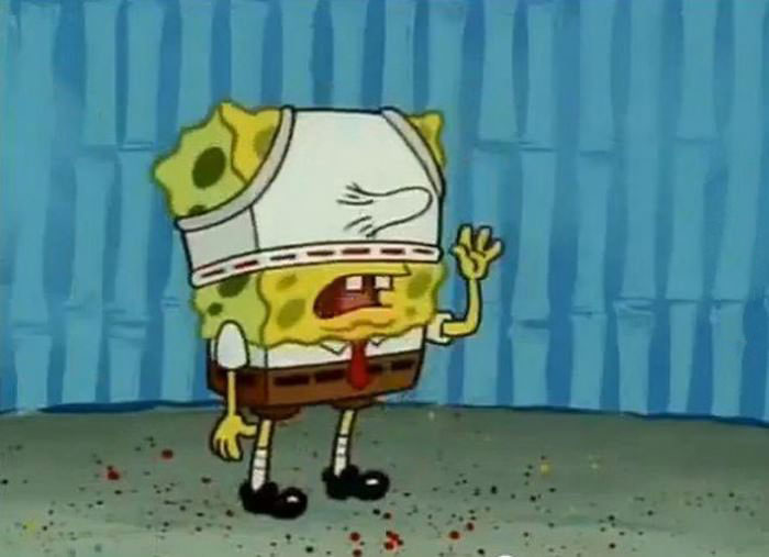 spongebob squarepants, underwear on head, nose, suggestive, wtf