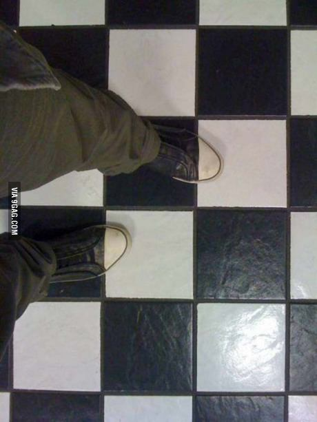 perspective, shoes, tiles, invisible illusion