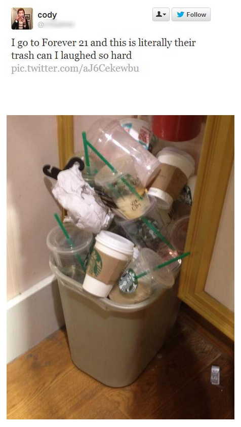 starbucks, forever 21, trash can, twitter