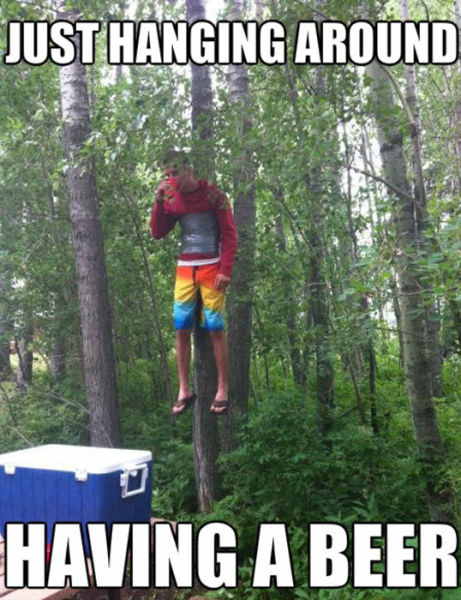 duct tape, meme, hanging around having a beer, taped to a tree, troll, prank, lol