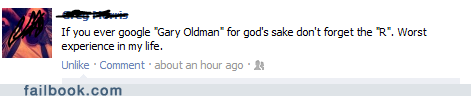gary oldman, google search, facebook status, joke, lol