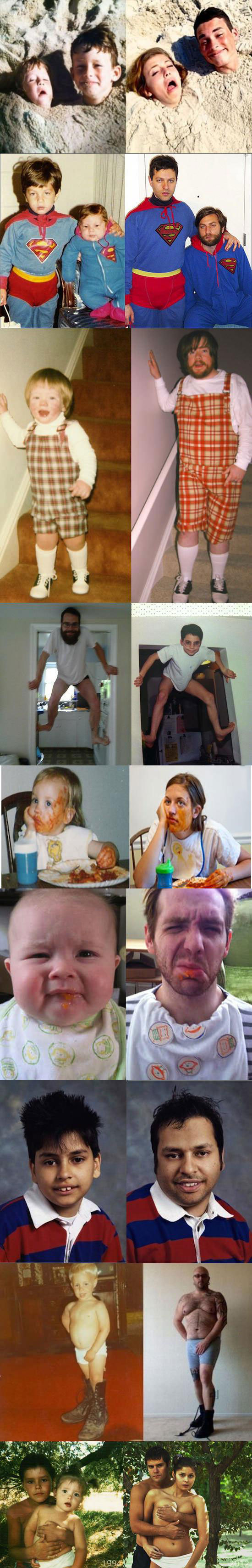 then and now, reenacting childhood photographs