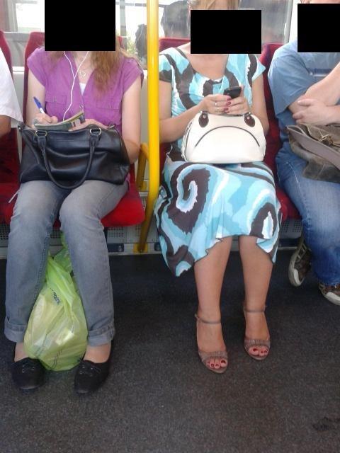purse, public transportation, unhappy face
