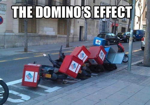 dominoes, pun, wordplay, meme, motorcycle, pizza delivery vehicle