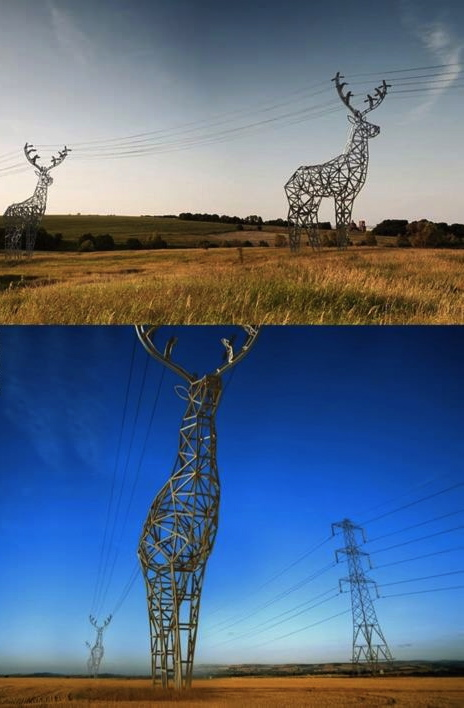 power line, deer shape, win, electricity, technology and art