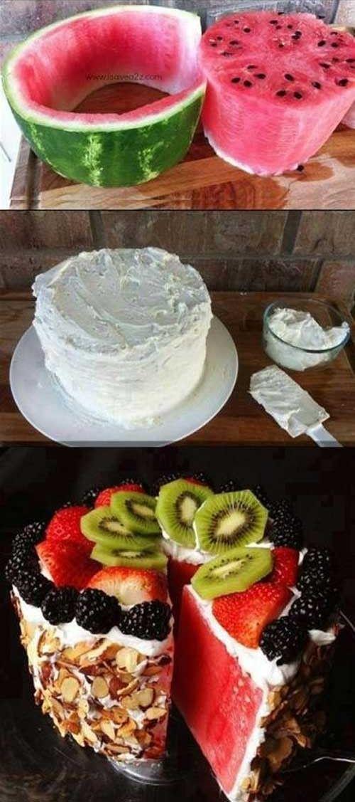 watermelon cake, food