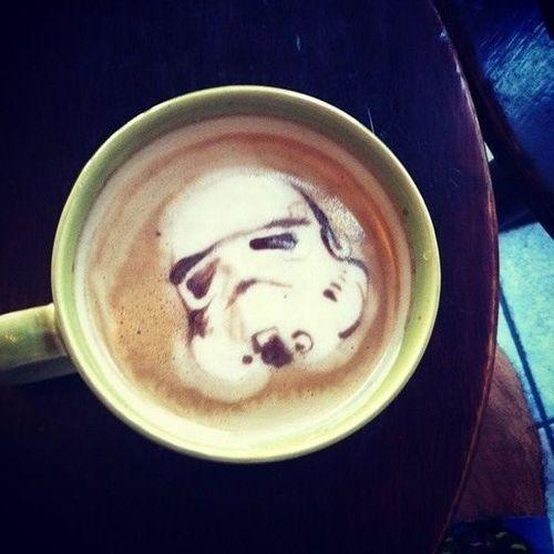 coffee art, star wars, storm trooper