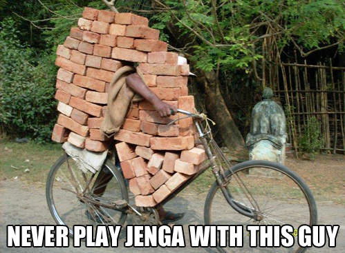 jenga, bricks, bicycle, wtf, meme