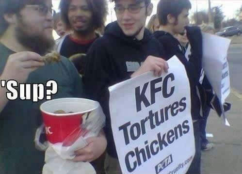 kfc tortures chickens, lol, bucket, protest