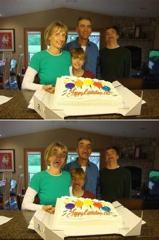 birthday, family portrait, photobomb, cake, photoshop
