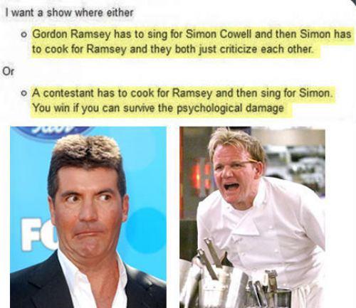 simon cowell, gordon ramsey, sing, cook, lol, tv personalities