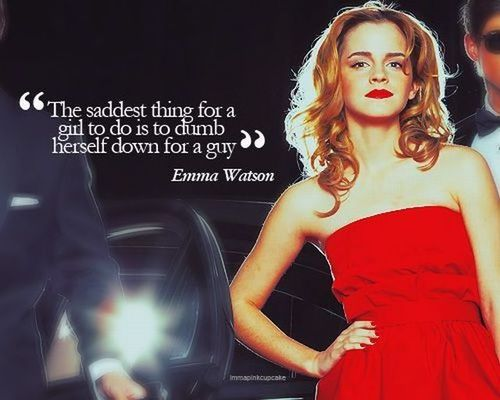 emma watson, quote, saddest thing for a girl to do, dumb down, red dress