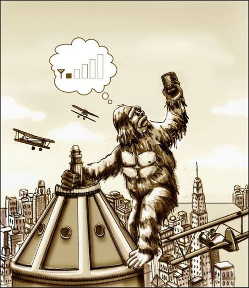 cell phone reception, king kong, building