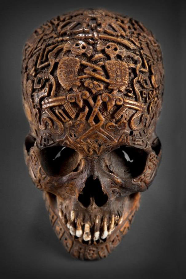 skull carving, maya, art, human head