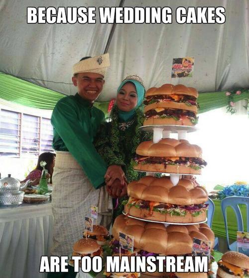 meme, wedding cake, sandwich, too mainstream, marriage, food