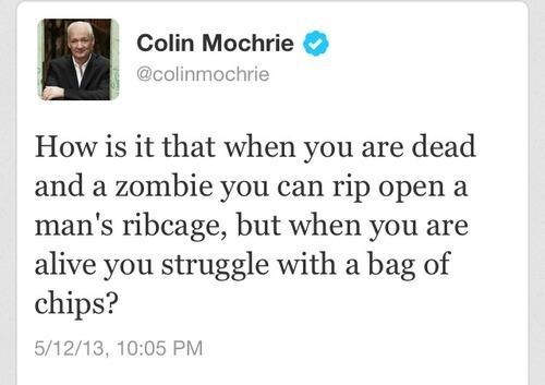 zombie movie logic,  rip open ribcage, bag of chips