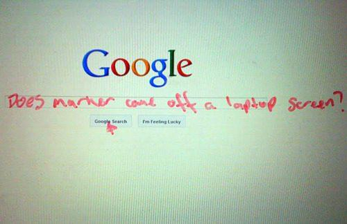 google, marker on laptop screen, lol, fail