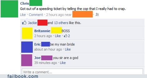 speeding ticket, cop, had to crap, lol, facebook