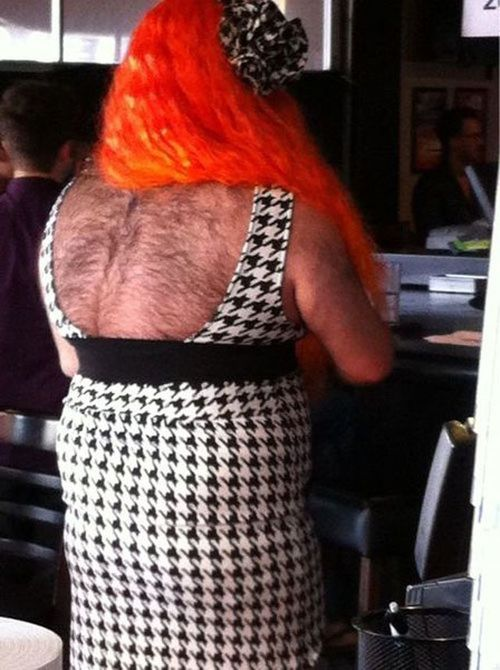 hairy back, costume, wig, wtf, eww, disgusting