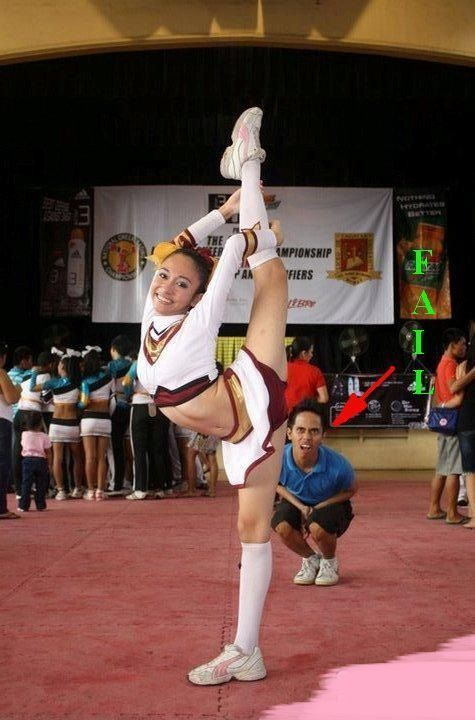 photobomb, cheerleader, flexible, splits