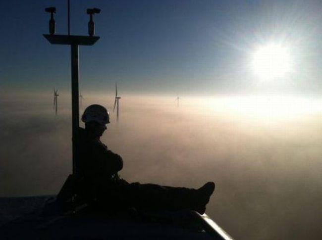 view, fog, sun rise, wind turbines