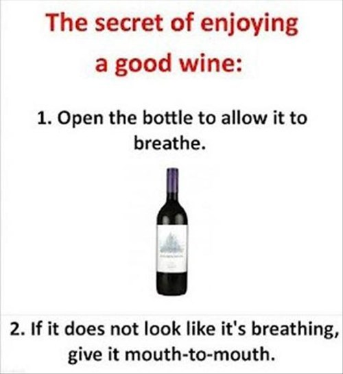 wine, mouth to mouth, breathe, secret to enjoying wine