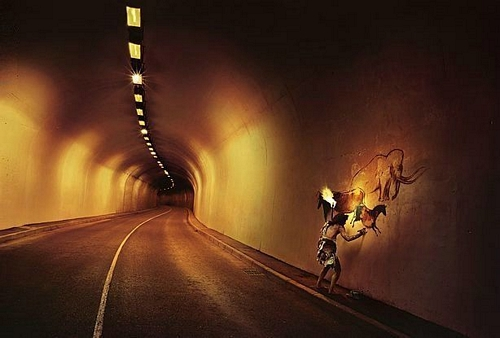 tunnel, cave paintings, anachronism