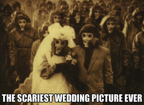scariest wedding picture ever, wtf, gas masks, marriage