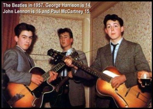 the beatles, young, george harrison, john lennon, paul mccartney