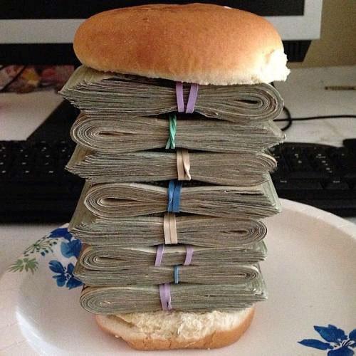 hamburger, wads of cash, wtf